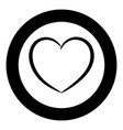heart the black color icon in circle or round vector image