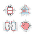line set icon circuit bitcoin money currency vector image