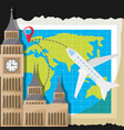 map with airplane and church architecture vector image vector image