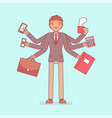 multitask businessman at work vector image vector image