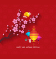 oriental paper lantern plum blossom and rabbit vector image vector image