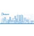 Outline Denver Skyline with Blue Buildings vector image vector image