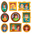 princesses and queens portrait wall vector image vector image