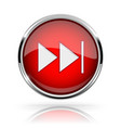 red round media button fast forward button shiny vector image vector image