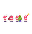 santa claus character in red costume and hat vector image