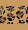 seamless pattern black palm leaves gold vector image