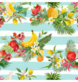 seamless tropical fruits pattern exotic background vector image