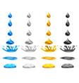 set drop of liquid water falls and makes a splash vector image