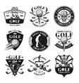 set nine golf monochrome vintage emblems vector image vector image