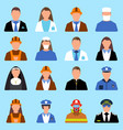 set of character worker icon man and woman label vector image vector image
