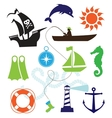 Set of sea icons vector image vector image