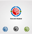 social digital logo icon element and template vector image