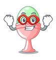 super hero colored easter egg in cup cartoon vector image