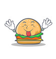 tongue out burger character fast food vector image vector image