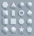 top view realistic white math basic 3d shapes vector image vector image