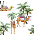 watercolor camel and palm pattern vector image vector image