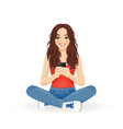 woman with phone vector image