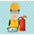 worker fire extinguisher glasses vector image