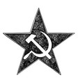 communist star symbol with hammer and sickle vector image