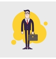 Young stylish serious businessman with leather vector image