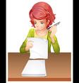 A woman taking an exam vector image vector image