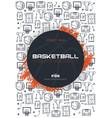 Basketball tournament banner with basketball ball