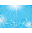 blue musical background with notes and rays vector image vector image