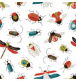 bugs and beetles seamless pattern vector image