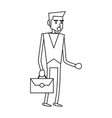 businessman executive cartoon in black and white vector image