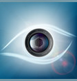 camera lens is in the form of a human eye vector image vector image