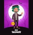 cartoon character child in costume frankenstein vector image vector image