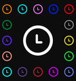 clock icon sign Lots of colorful symbols for your vector image vector image