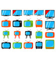 colorful cartoon 20 tv elements set vector image vector image