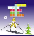 crossword skier vector image vector image