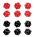 dice red and black set vector image vector image