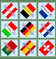 European flags on stamps vector image vector image