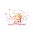 girl and boy riding in a shopping cart romantic vector image vector image
