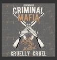 grunge style vintage logo criminal mafia vector image vector image