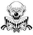 hand drawn of angry clown with guns isolated vector image