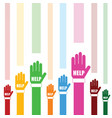 hands help set in color vector image