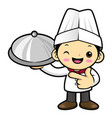happy cook character holding a pot isolated on vector image vector image