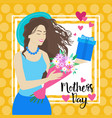 happy mother day woman hold present box spring vector image vector image
