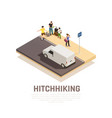 hitchhiking travel isometric composition vector image