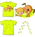 kid shirt with cute cat and dog printed - isolated vector image