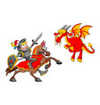 knight on horse fighting the dragon vector image