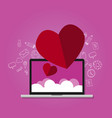 love shape on laptop with cloud screen online vector image vector image