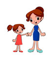 mother and daughter holding hands on a walk vector image