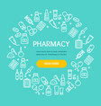 pharmacy signs round design template thin line vector image