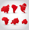 red continent set vector image vector image
