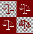scales of justice sign bordo and white vector image vector image